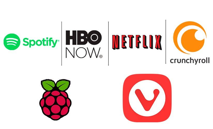 Logos de Netflix, Spotify, HBO, Crunchyroll, Raspberry Pi y Vivaldi