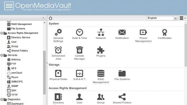 Captura de pantalla del configurador sistema operativo OpenMediaVault