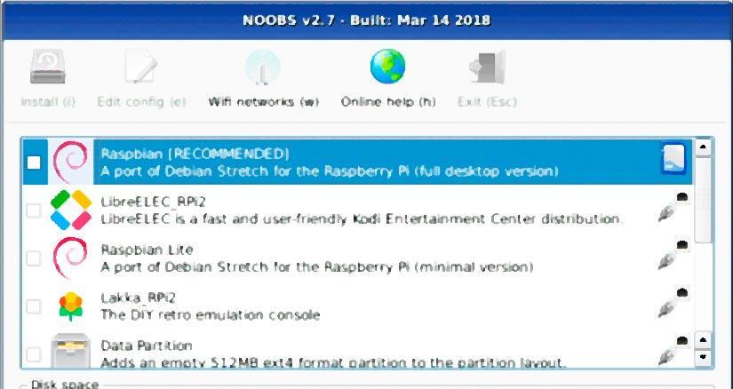 Seleccion de sistema operativo en NOOBS