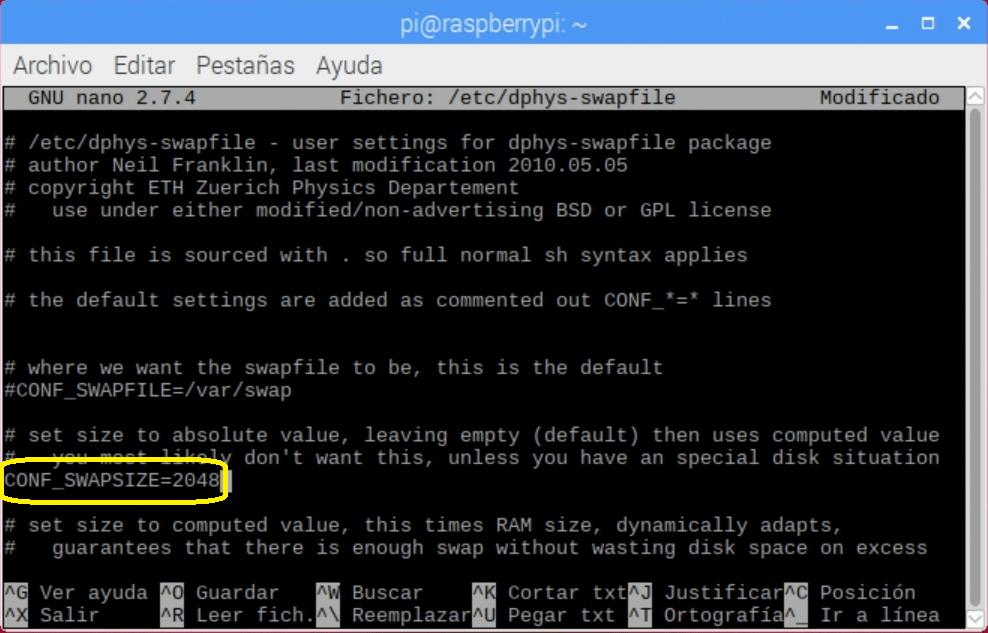 Editando el archivo dphys-swapfile con nano