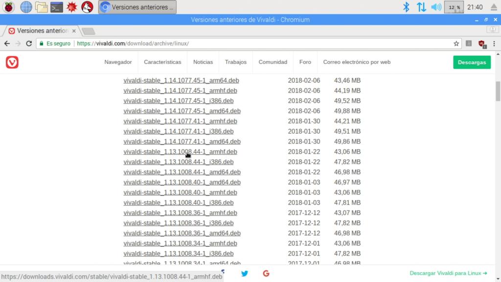 Captura de la web del archivo de versiondes de Vivaldi