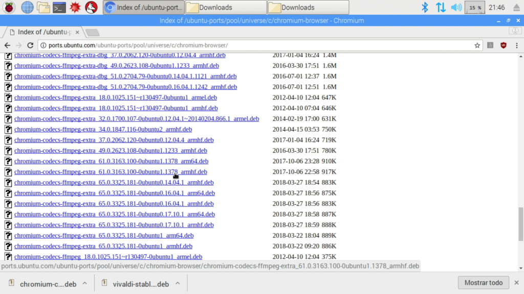 Captura de pantalla del repositorio chromium-browser de los ports de Ubuntu