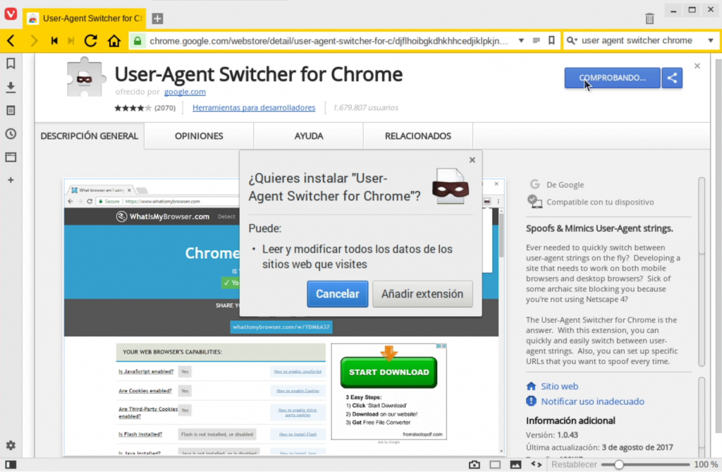 Ventana de instalacion de User Agent switcher for Chrome