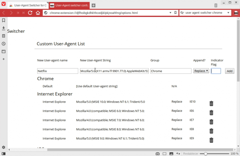 Captura de la configuracion de User Agent Switcher for Chrome