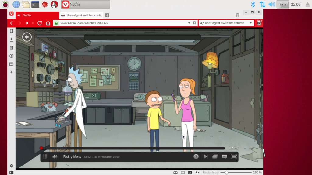 Captura de Netflix funcionando en el navegador Vivaldi en Raspbian