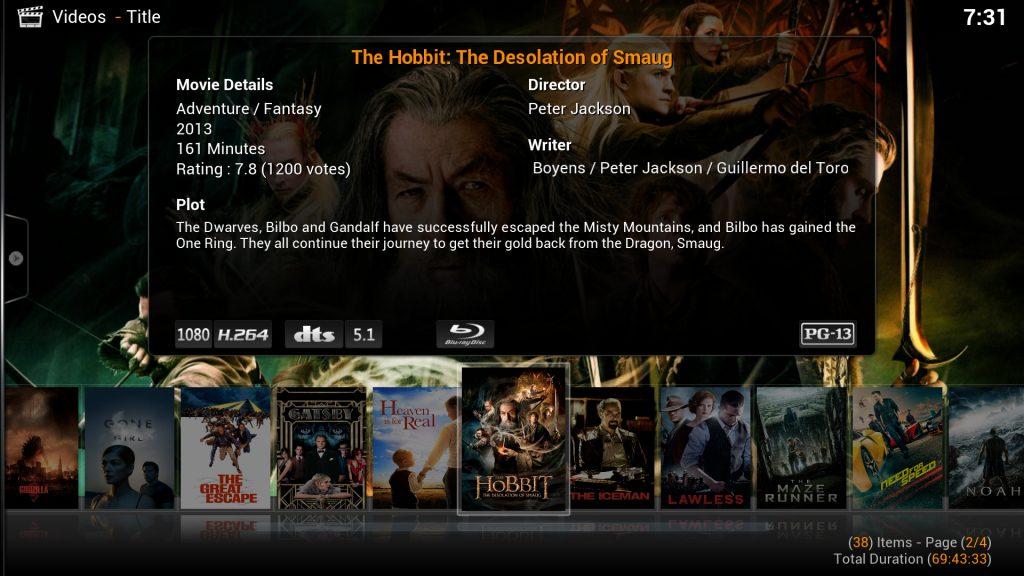 Menú de visualización de películas de Xbian