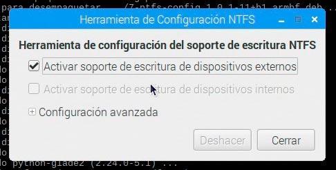 Herramienta de configuración NTFS habilitando la escritura de discos USB