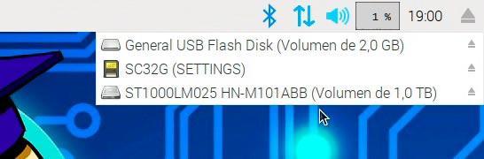 Menú de selección de USBs conentados para expulsar