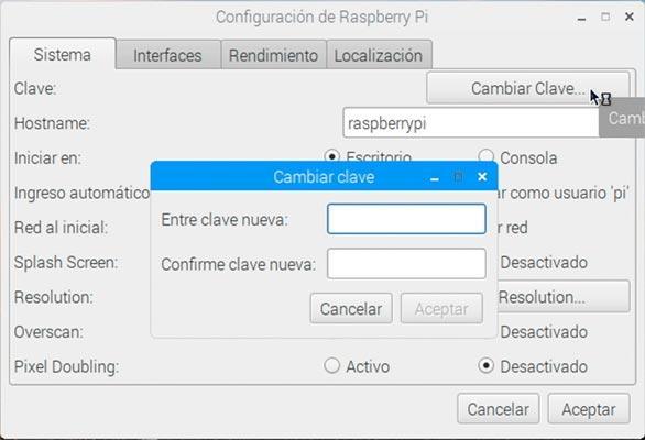Imagen de la configuración de Raspbian para cambiar la contraseña