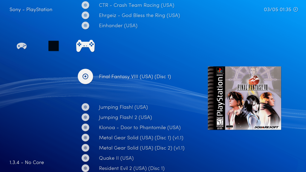 Captura de pantalla del sistema operativo Lakka