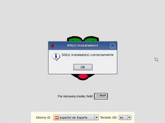Imagen que aparece en NOOBS después de instalar Raspbian en la tarjeta microSD