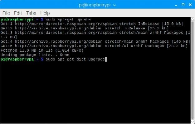 Imagen de la terminal actualizando Raspbian