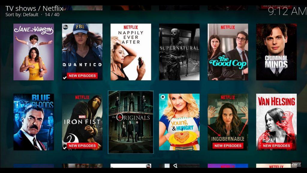 Listado de novedades de Netflix ejecutado en Kodi 18