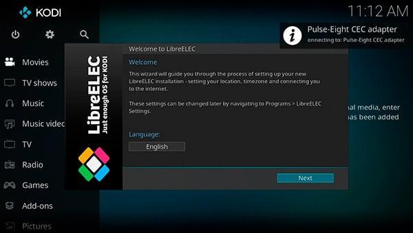 Asistente de configuración que aparece después de instalar LibreELEC
