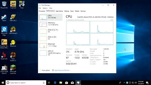 Atomic Pi ejecutando Windows 10
