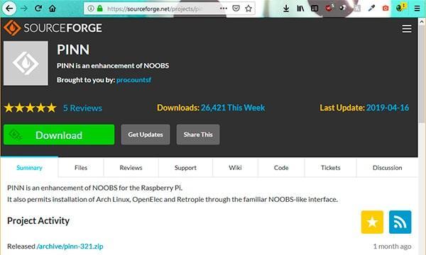Descargando PINN desde sourceforge.net