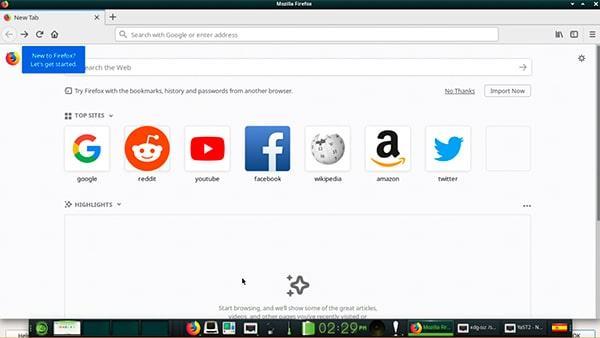 Firefox ejecutado en openSUSE
