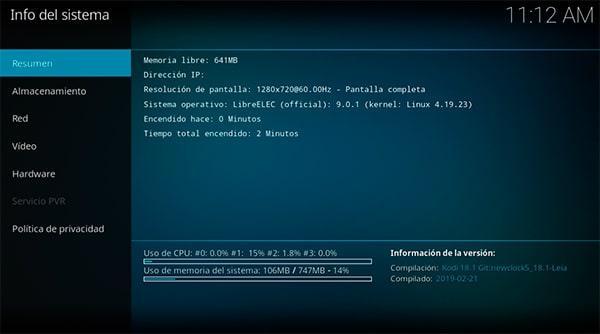 Pantalla de información de sistema donde se indica la IP de la Raspberry Pi en Kodi