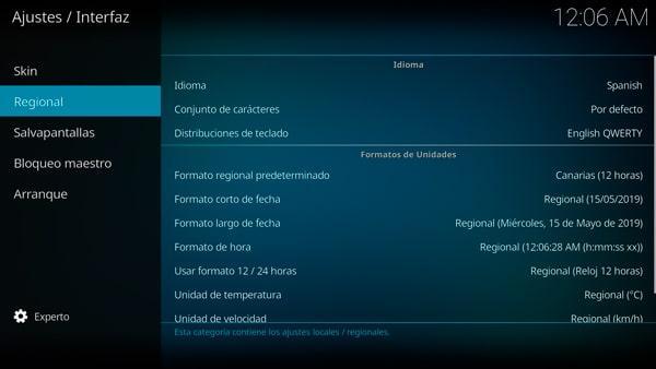 Pantalla de regional dentro de interfaz en los ajustes de Kodi