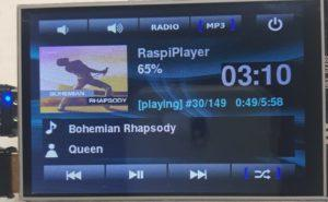 Reproductor MP3 RaspiPlayer reproduciendo Bohemian Rapshody de Queen