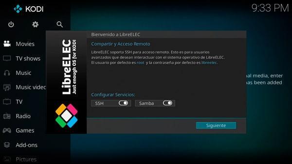 Seleccionando el acceso remoto en LibreELEC