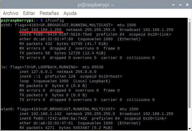 Comando ifconfig con una IP fija en Raspberry Pi