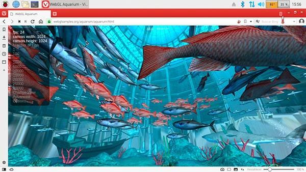 Prueba de rendimiento de WebGL con Vivaldi en Raspbian