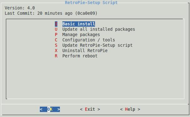 Imagen del configurador de RetroPie