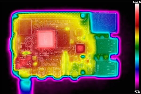 Imagen termica de la Raspberry Pi 4 con el primer firmware