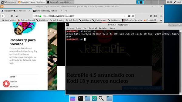 Kali Linux ejecutado en una Raspberry Pi 4