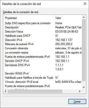 Ventana con información de la configuración de red de Windows 10