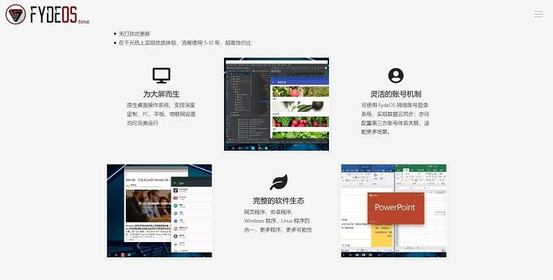 Imagen de la web de FydeOS