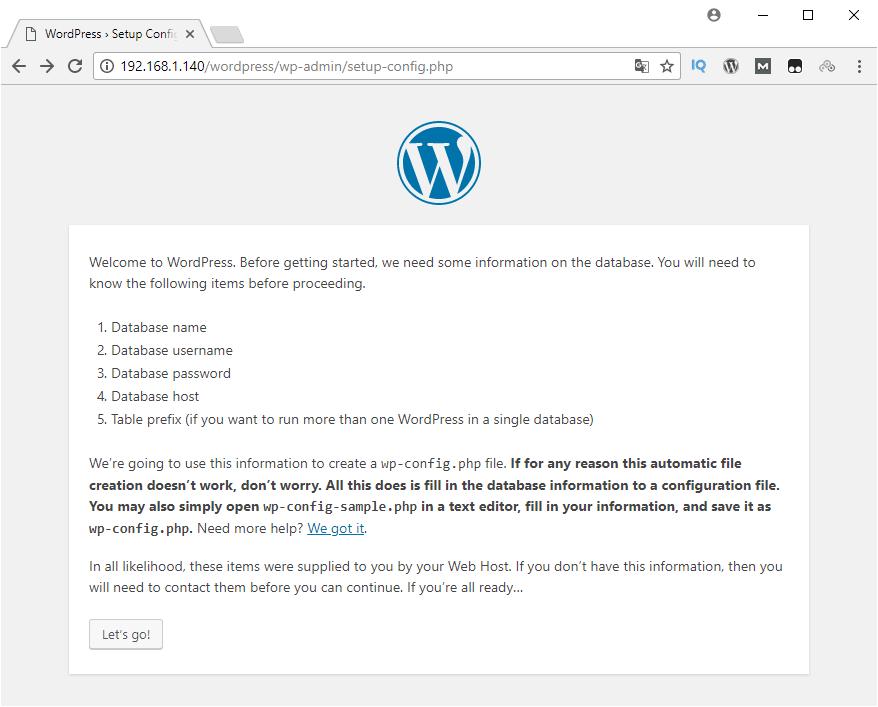 Asistente de instalación de WordPress en nuestro servidor web montado en una Raspberry Pi