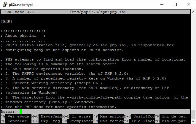 Editando la configuración de PHP con nano