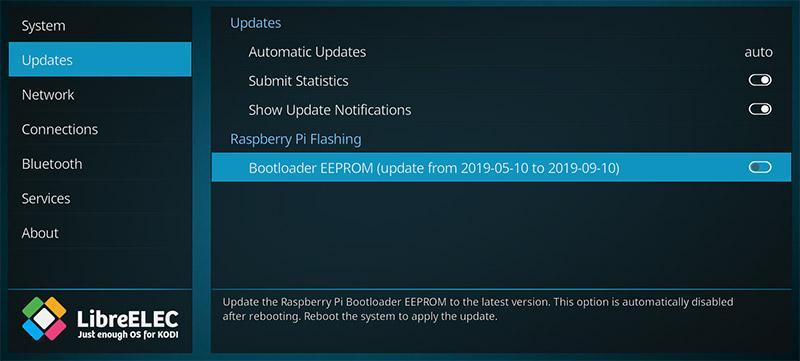 Actualización de firmware de la Raspberry Pi en LibreELEC 9.2