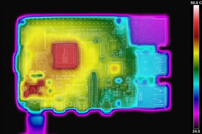 Imagen termica de la Raspberry Pi 4 después de la actualización de firmware
