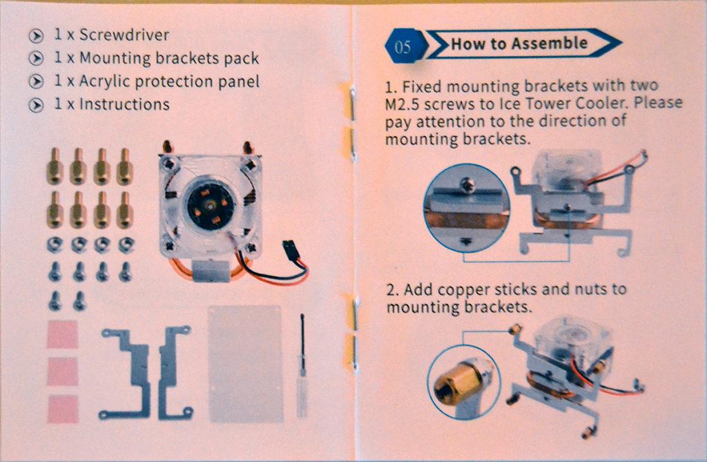 Instrucciones del disipador Blink Blink Ice Tower Cooler para Raspberry Pi 4