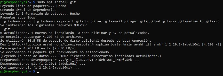 Instalando git en Raspbian