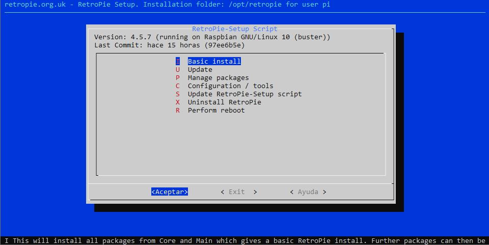 Menú del asistente de configuración de RetroPie