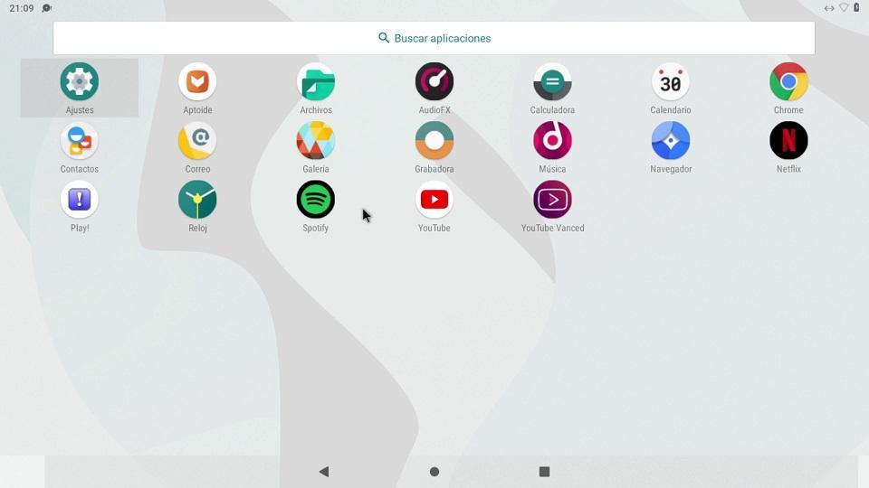 Menú de aplicaciones de Android para Raspberry Pi 4