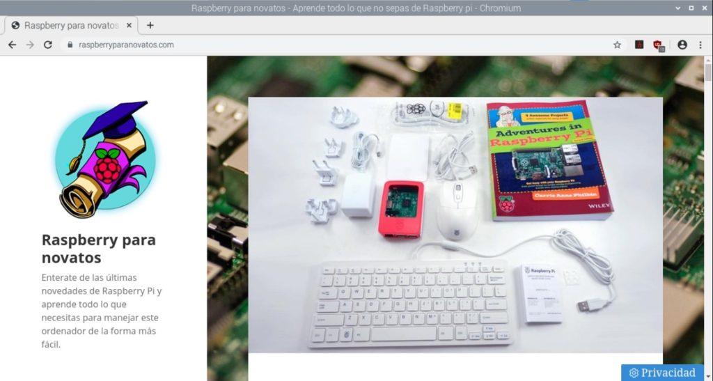 Navegador web Chromium funcionando en Raspbian