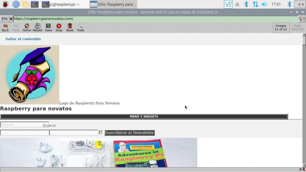 Navegador web Dillo funcionando en Raspbian