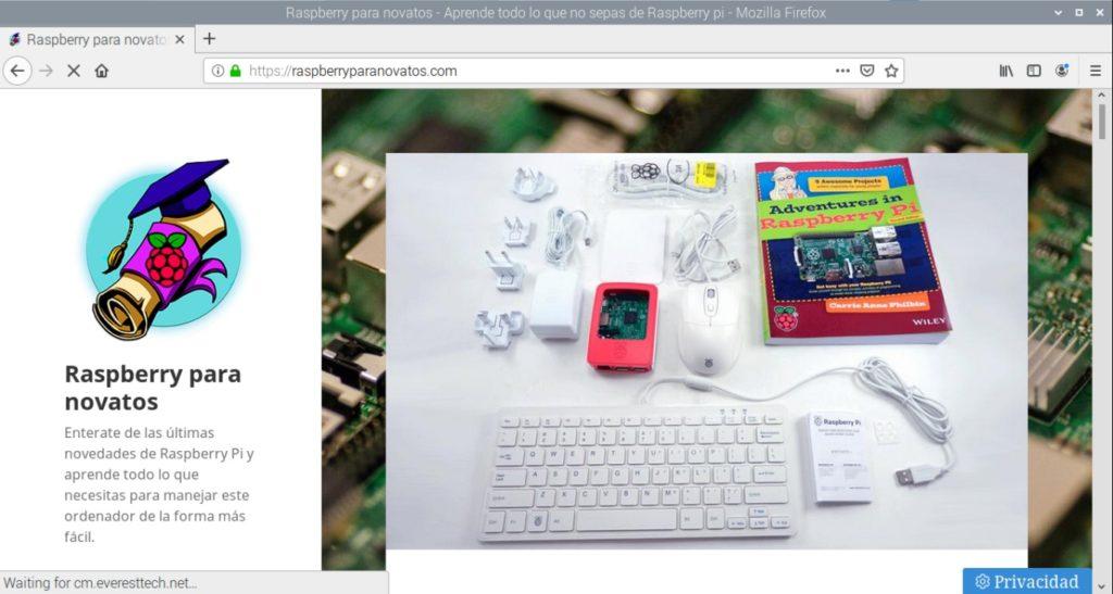 Navegador web Firefox funcionando en Raspbian