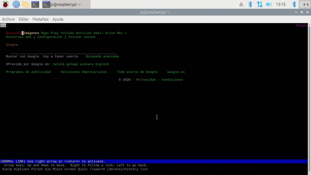 Navegador web Lynx funcionando en Raspbian