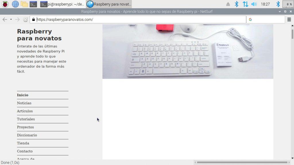Navegador web NetSurf funcionando en Raspbian