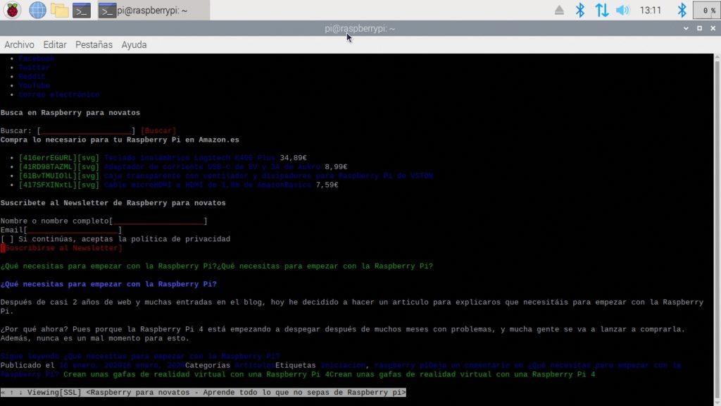 Navegador web w3m funcionando en Raspbian