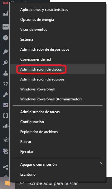 Como abrir el administrador de discos