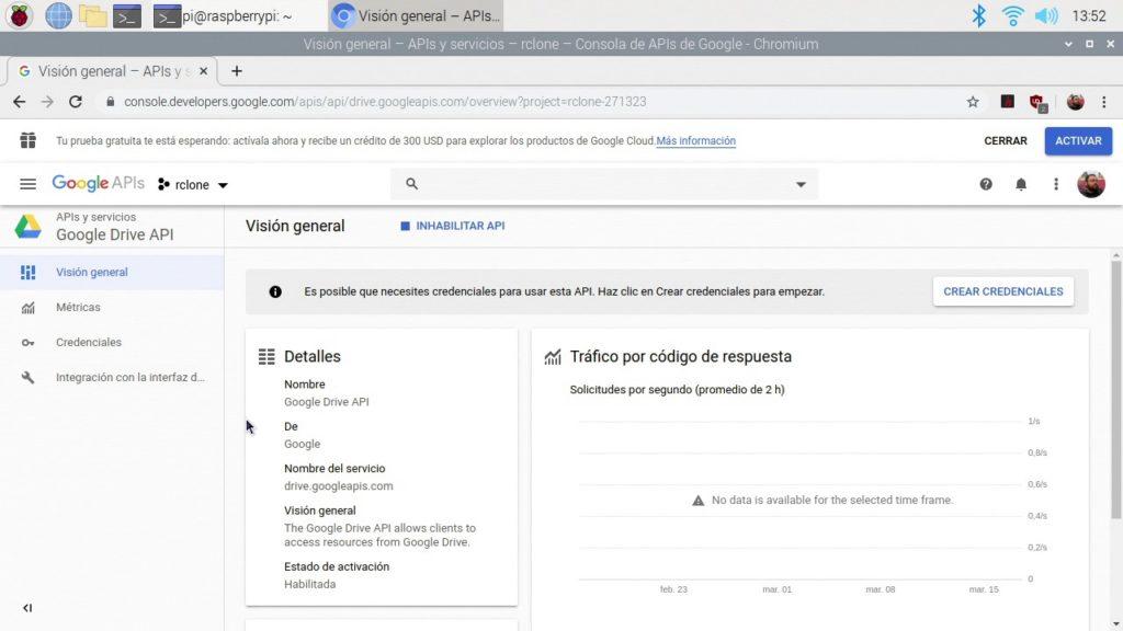 API de Google Drive preparada para recibir peticiones de rclone