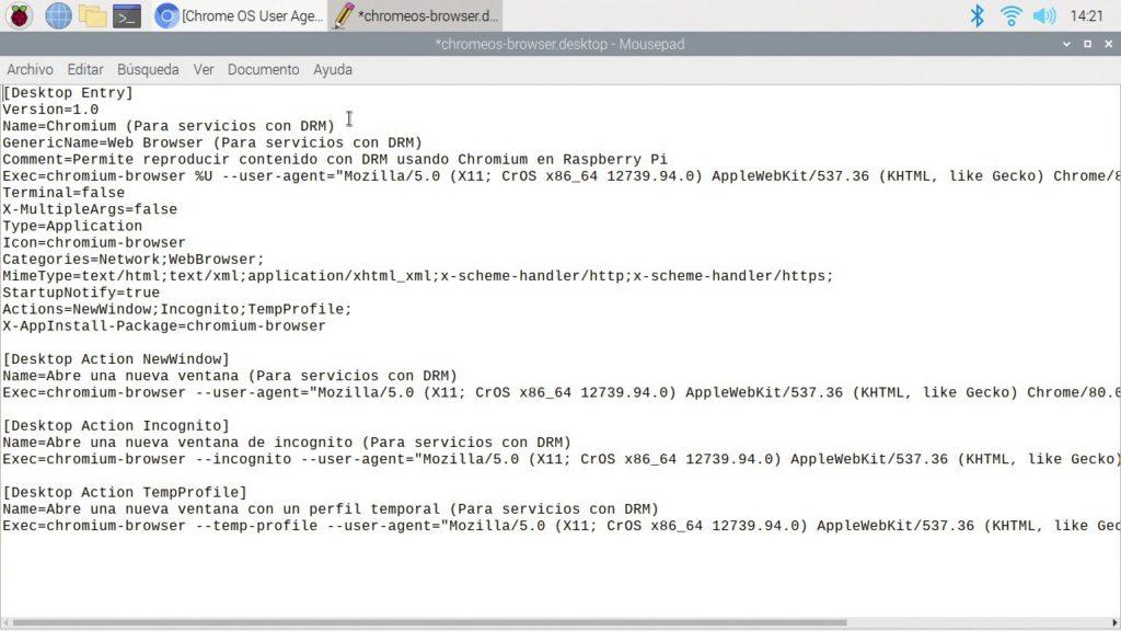 Acceso directo modificado para poder usar Netflix en nuestra Raspberry Pi