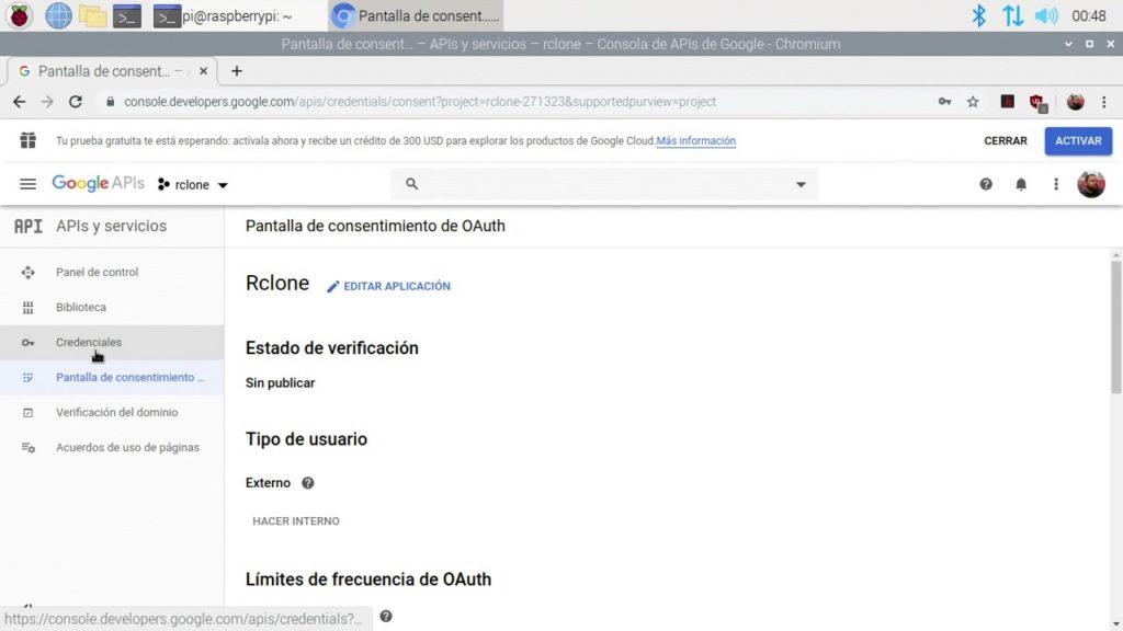 Confirmación de la creación de la pantalla de consentimiento para Rclone